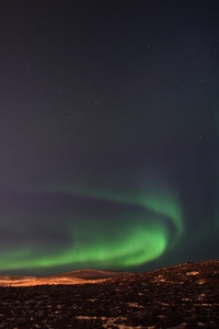 Northern Lights Over The Fagradalsfjall Volcanic Eruption In Geldingadalur In Iceland 5k