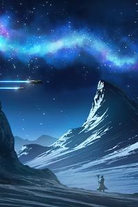 1440x2960 Northern Lights Scifi Warrior 4k