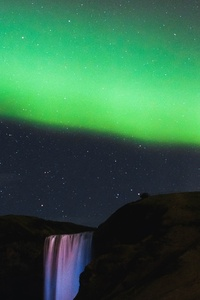 1242x2688 Northern Lights Waterfall Mountains 5k