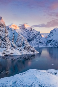 Norway Lofoten Mountains Winter Bay Snow