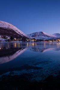 Norway Mountains Evening Lake Cities Night