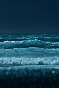 480x854 Ocean Waves At Night