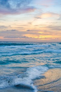 640x1136 Ocean Waves at Sunset