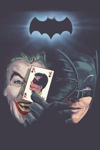 1080x1920 Old Joker And Bat Minimal 4k