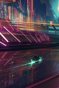 320x568 On My Way Neon Rider Scifi