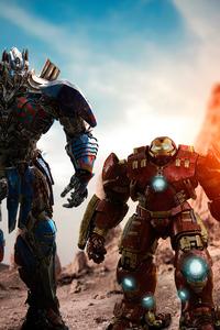 1440x2960 Optimus Prime And Hulk Buster 4k
