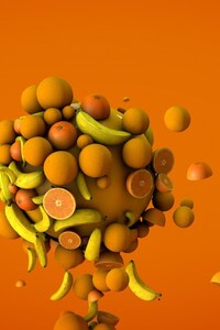240x320 Orange Bananas 3d