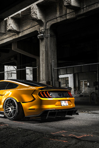 1080x2160 Orange Custom Ford Mustang 4k