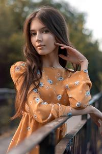 Orange Dress Girl 4k