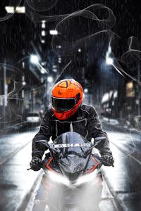 640x960 Orange Helmet Biker 4k