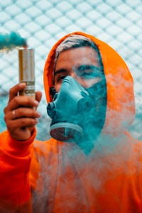 540x960 Orange Hoodie Guy With Smoke