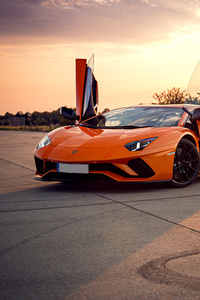720x1280 Orange Lamborghini Aventador 4k