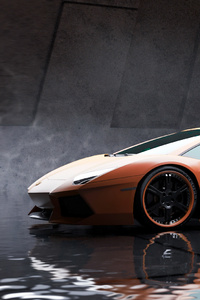 720x1280 Orange Lamborghini Aventador Car
