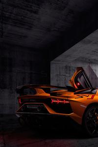 1080x2280 Orange Lamborghini Aventardor SVJ 4k