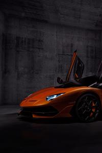 1080x2280 Orange Lamborghini Aventardor SVJ