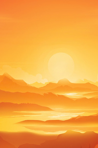 800x1280 Orange Landscape Morning Minimal 5k