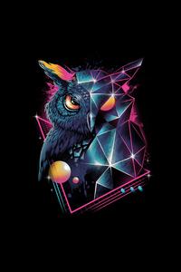 640x1136 Owl 80s Design 4k