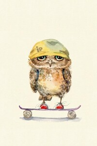 1440x2960 Owl On Skateboard