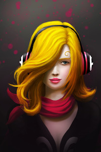 750x1334 Painting Art Girl Headphones