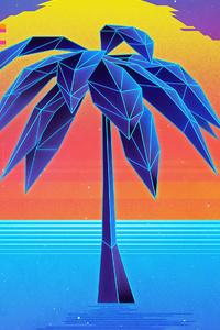 Palm Tree Retro Synthwave 4k