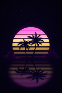 240x320 Palm Trees Retrowave 4k