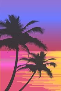 Palm Trees Sun Vector Artwork 8k