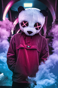 Panda Neon Eyes 4k