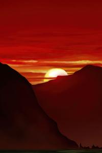 240x400 Peaceful Mountains Sunset 5k