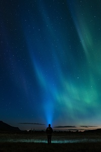 Person Standing Northern Light Aurora 4k