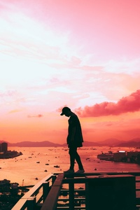 Person Standing Pink Silhouette