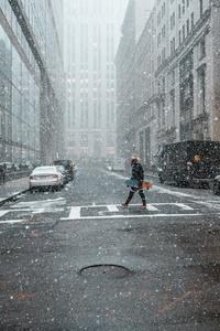 1242x2688 Person Street Snow 4k