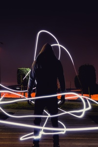 1080x2280 Person Wearing Hoodie Jacket Neon Light