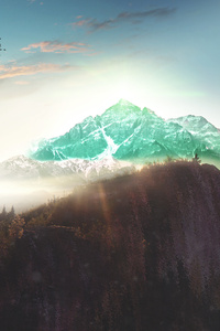 Photo Manipulation Mountains Clouds River Snow Sunset Concept Digital Art 4k