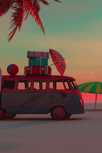 240x320 Picnic Van Beach Minimalism 4k