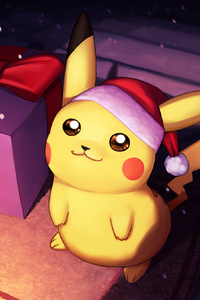 1080x2280 Pikachu On Christmas Day Fanart