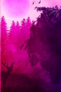 Pink Birds Forest Landscape 4k