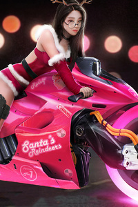 1080x2160 Pink Cyber Bike Asian Girl