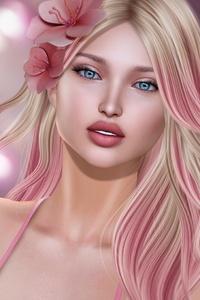 Pink Fantasy Blonde Girl Flower Artwork 5k