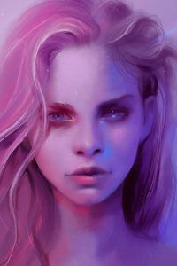 320x480 Pink Girl Portrait Art 4k