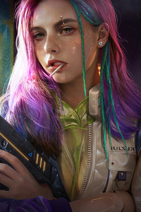 Pink Hair Girl Cyber
