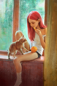 Pink Hair Girl With Cat