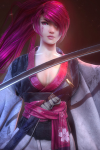 1080x2160 Pink Hair Warrior Girl With Sword