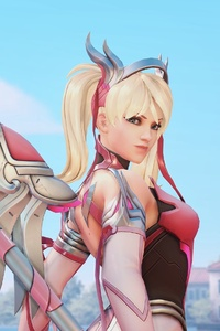 Pink Mercy Overwatch Artwork 4k