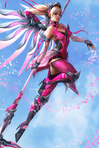 480x854 Pink Mercy Overwatch Wings Fantasy Digital Art
