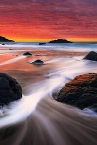 Pink Sky Beach Waves