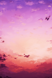 Pink Sky Horizon 4k