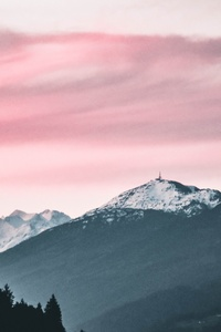 800x1280 Pink Sky Nature Beauty Mountains Snow 5k