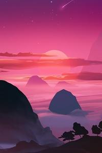 1440x2560 Pink Sunset Minimal 4k