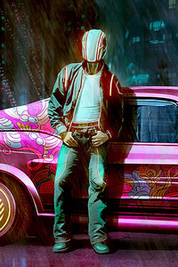 480x800 Pink Vintage Car Man Standing Outside