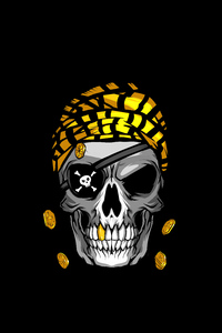 1080x2280 Pirate Skull Gold Minimal 4k